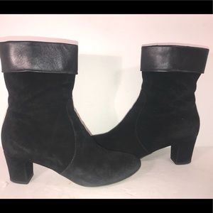 AQUATALIA Womens Black Suede/leather Boots Sz 8